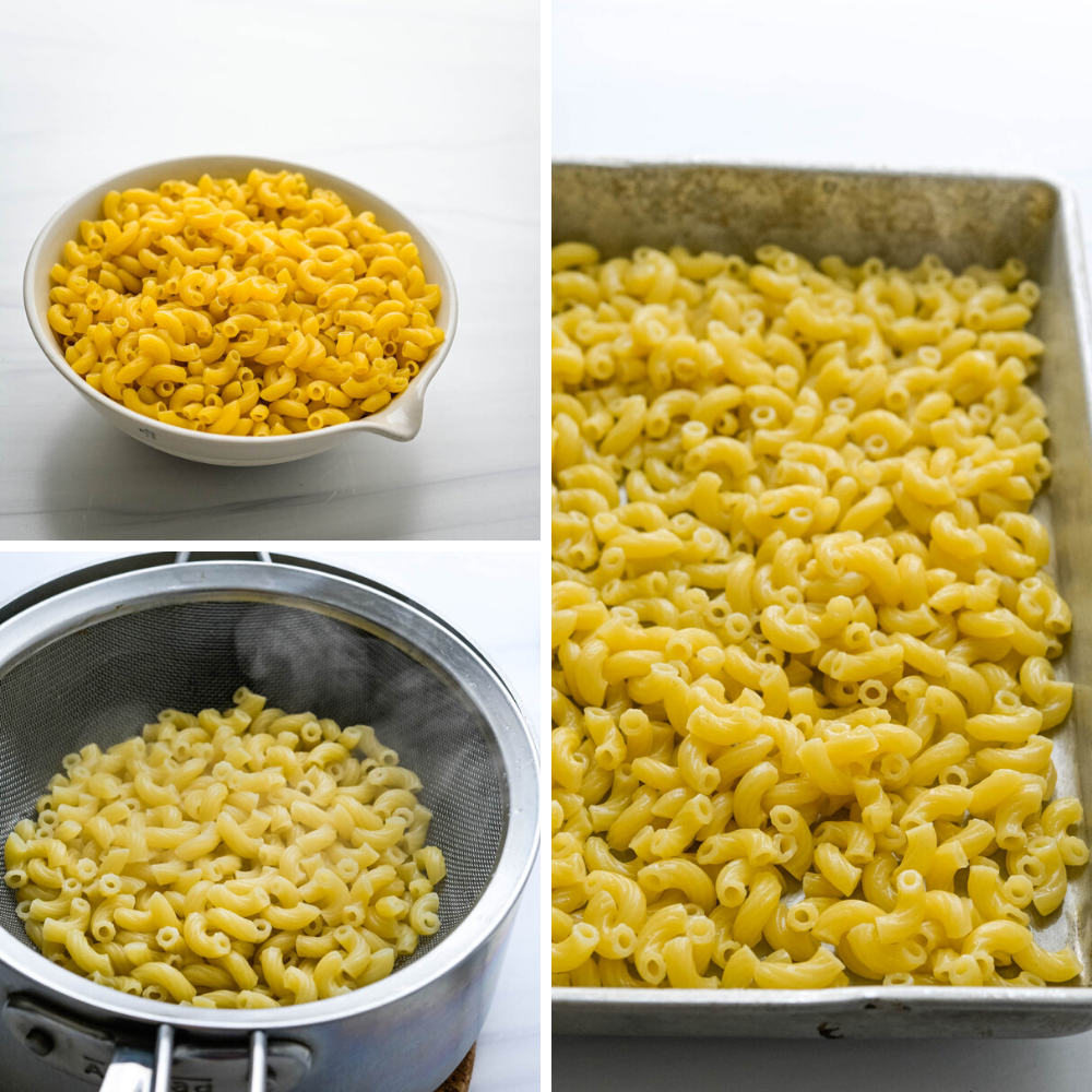 cooking and cooling the elbow shaped macaroni.