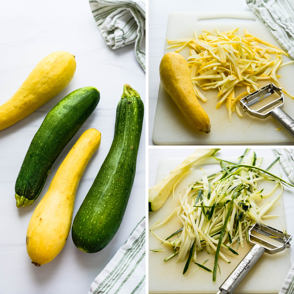 A series of photos - one of whole zucchini & squash and using a julienne peeler to slice each of the squash into ribbons.