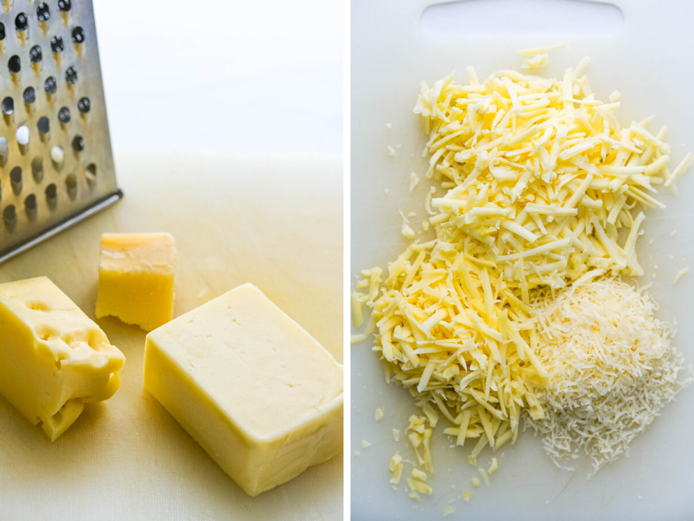 grating 3 cheeses for the mac.