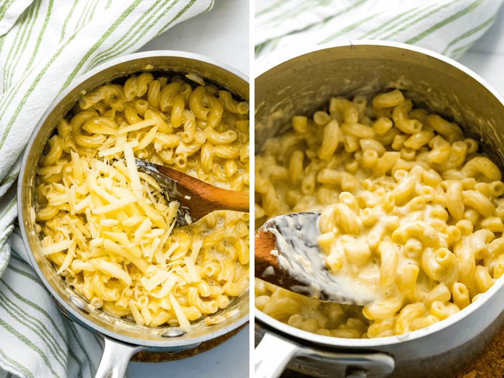 adding handfuls of cheese to the cream coated macaroni.