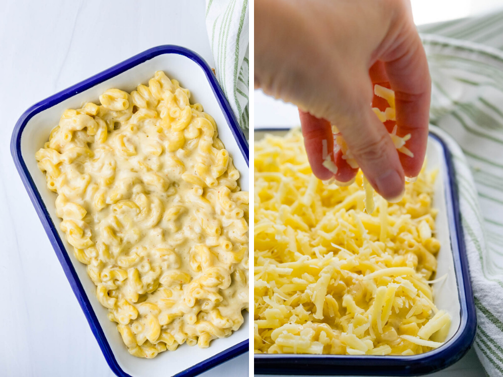 filling a casserole dish with macaroni and topping with 3 cheeses.