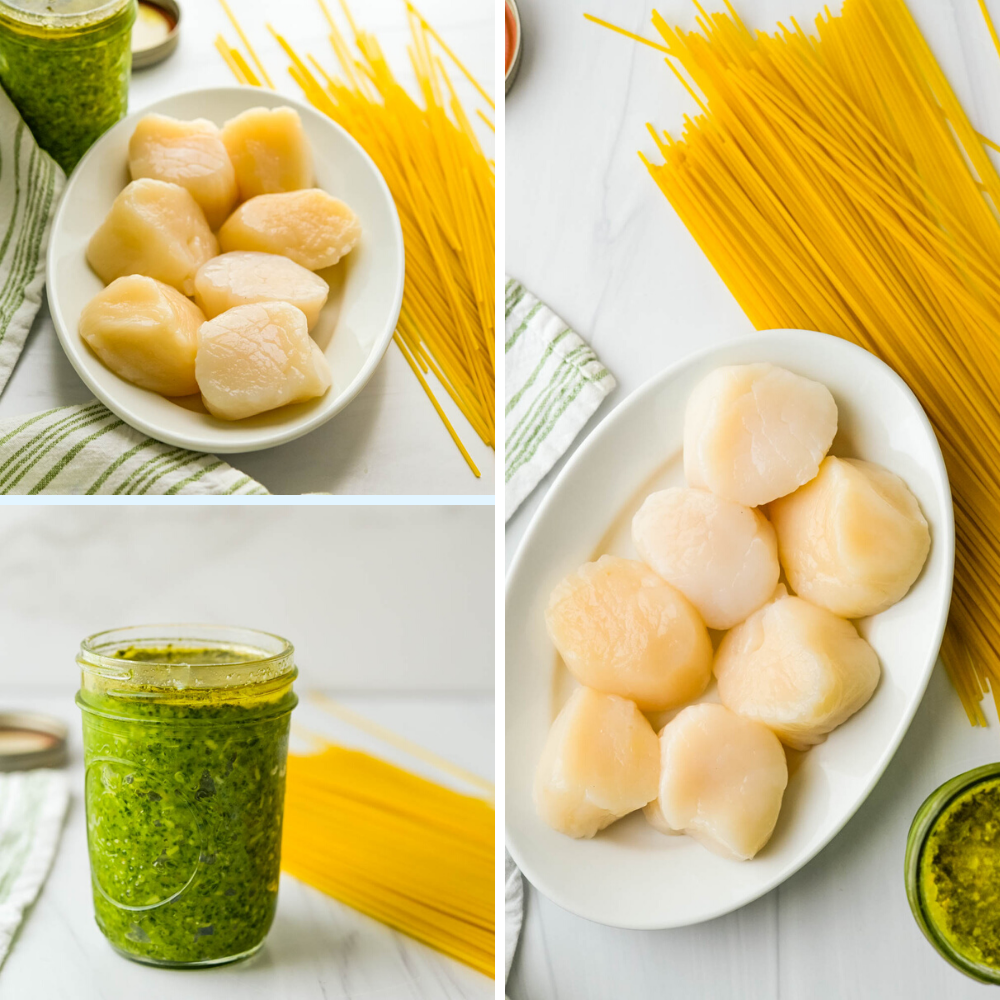dry diver scallops, spinach pesto and pasta arranged on a counter.