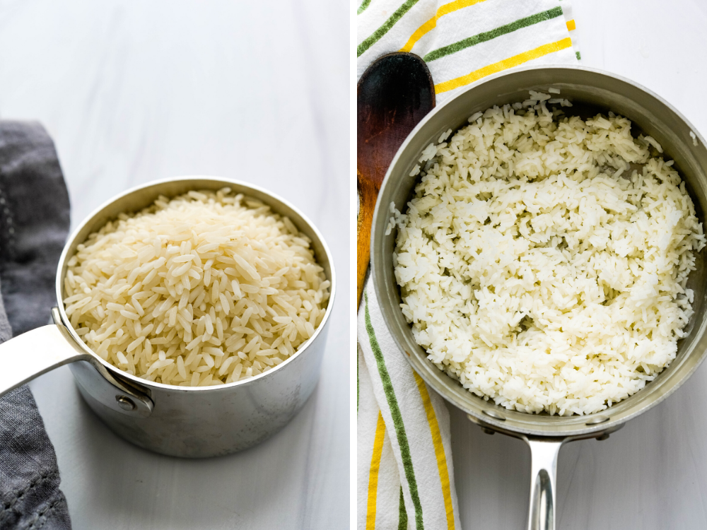 Cooking and steaming long grain rice in a pot.
