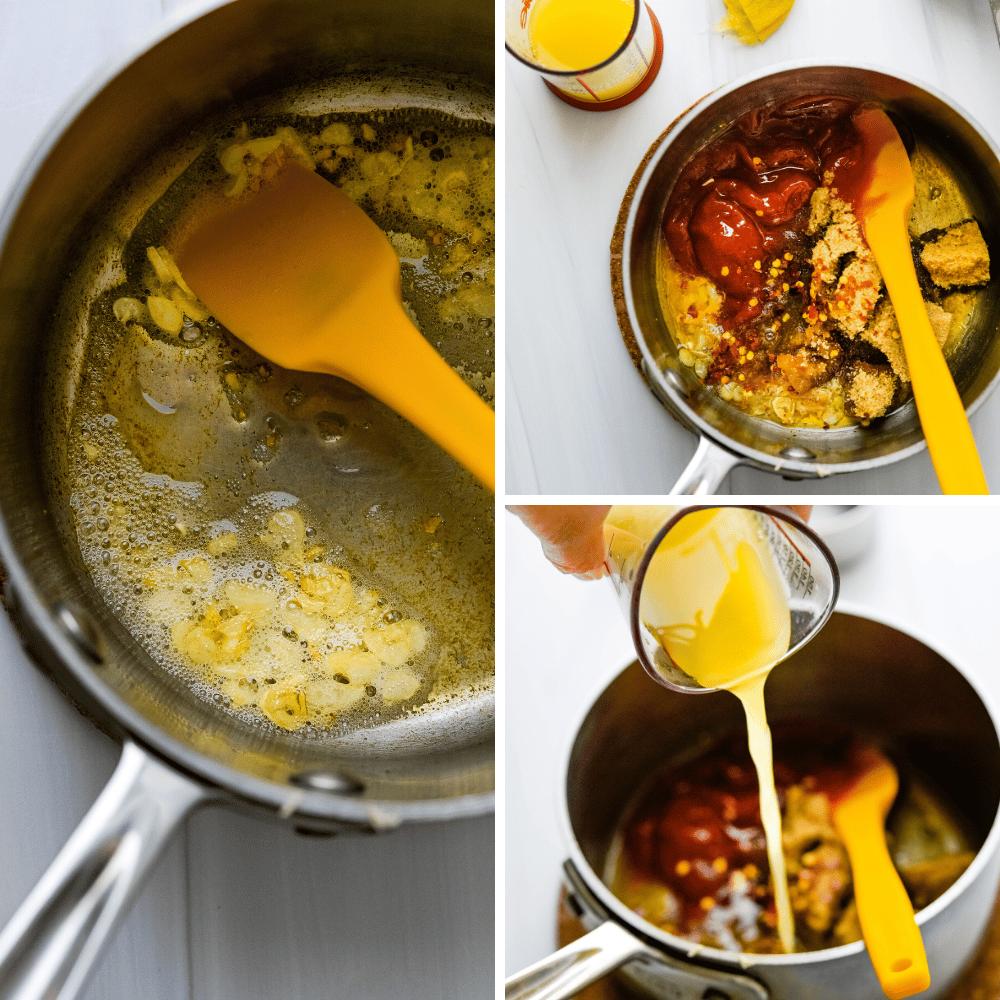 assembling the pineapple bourbon glaze in a saucepan.