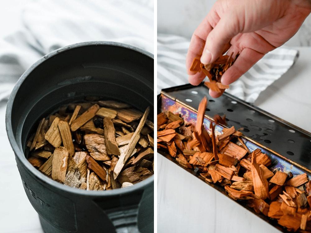 soaking wood chips.