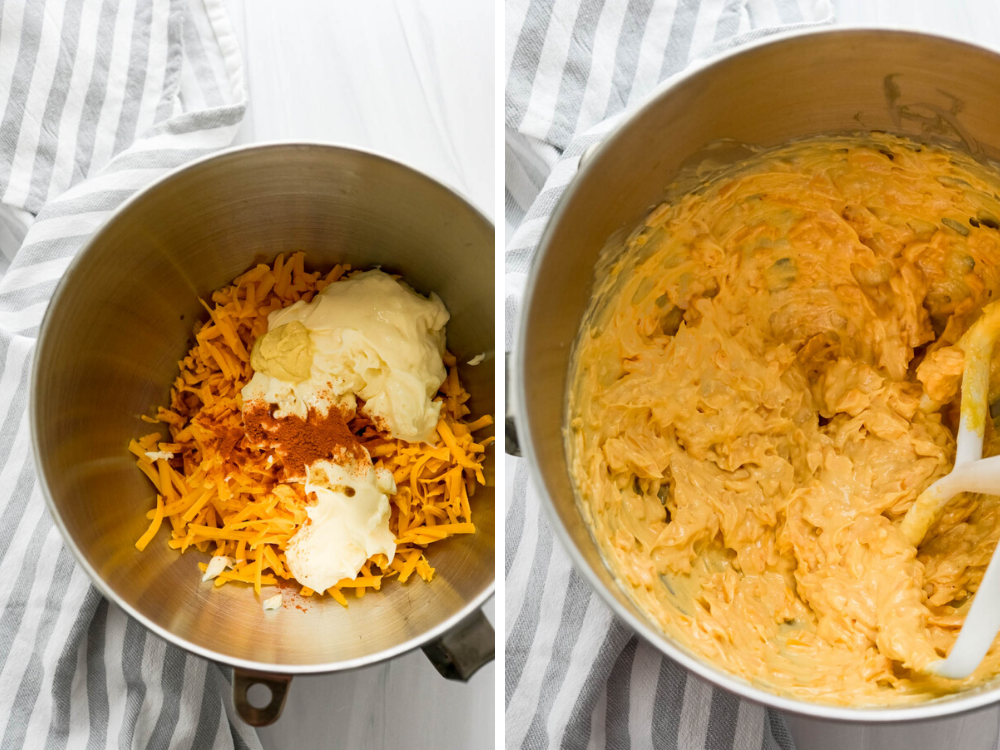 Mix the ingredients in a large bowl with a stand mixer until the easy pimento cheese recipe is creamy and smooth.
