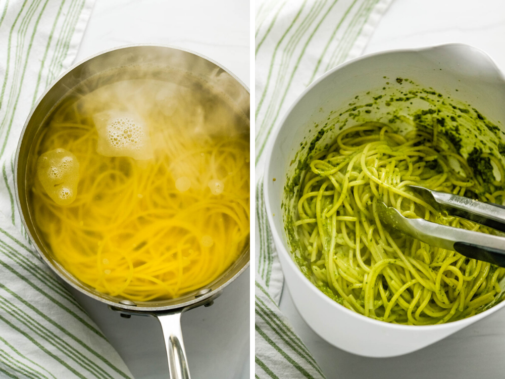 Transferring al dente pasta to a bowl with spinach pesto, and tossing with a pair of tongs.