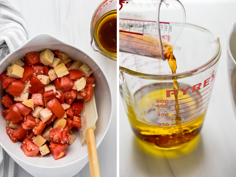 Two images showing the tomato and bread mixture on the left and combining sherry vinegar with the olive oil on the right.
