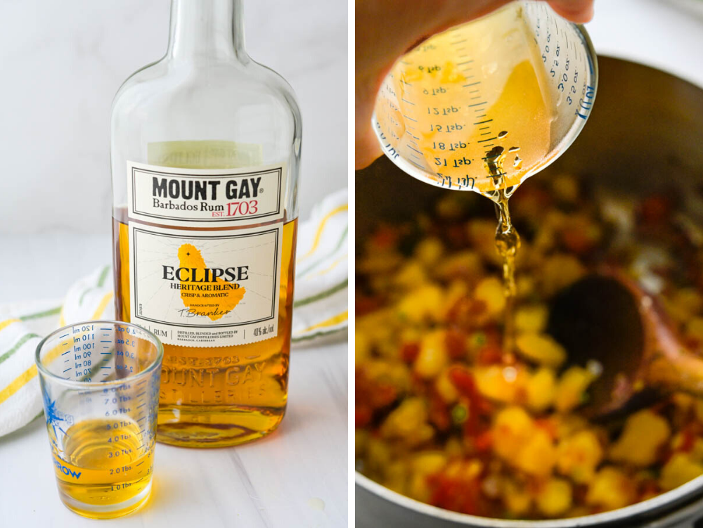 Pouring rum into the pineapple chutney recipe.