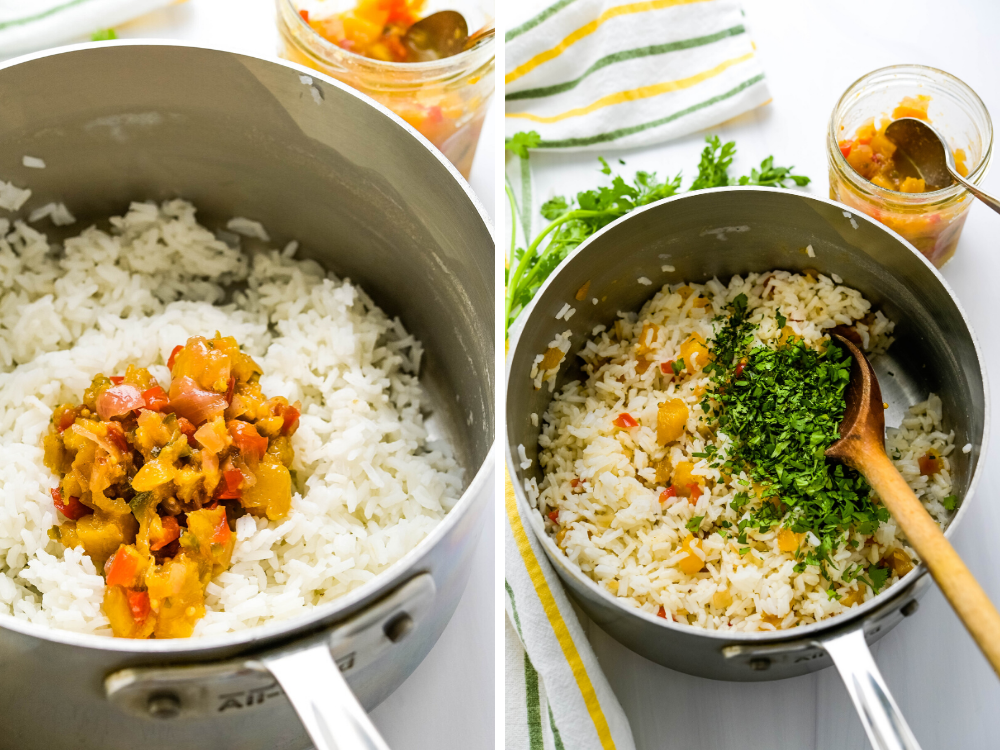 Adding pineapple chutney and cilantro to the tropical rice recipe.