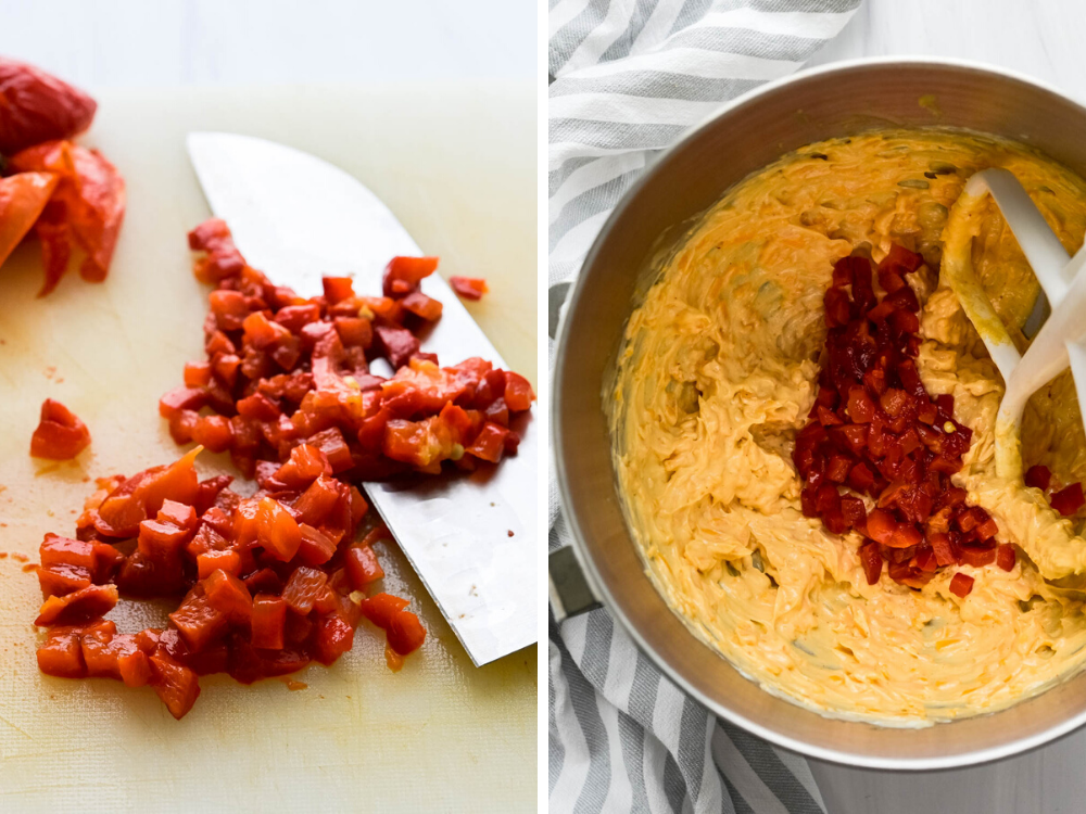 Add diced pimento or roasted bell peppers to the southern pimento cheese.