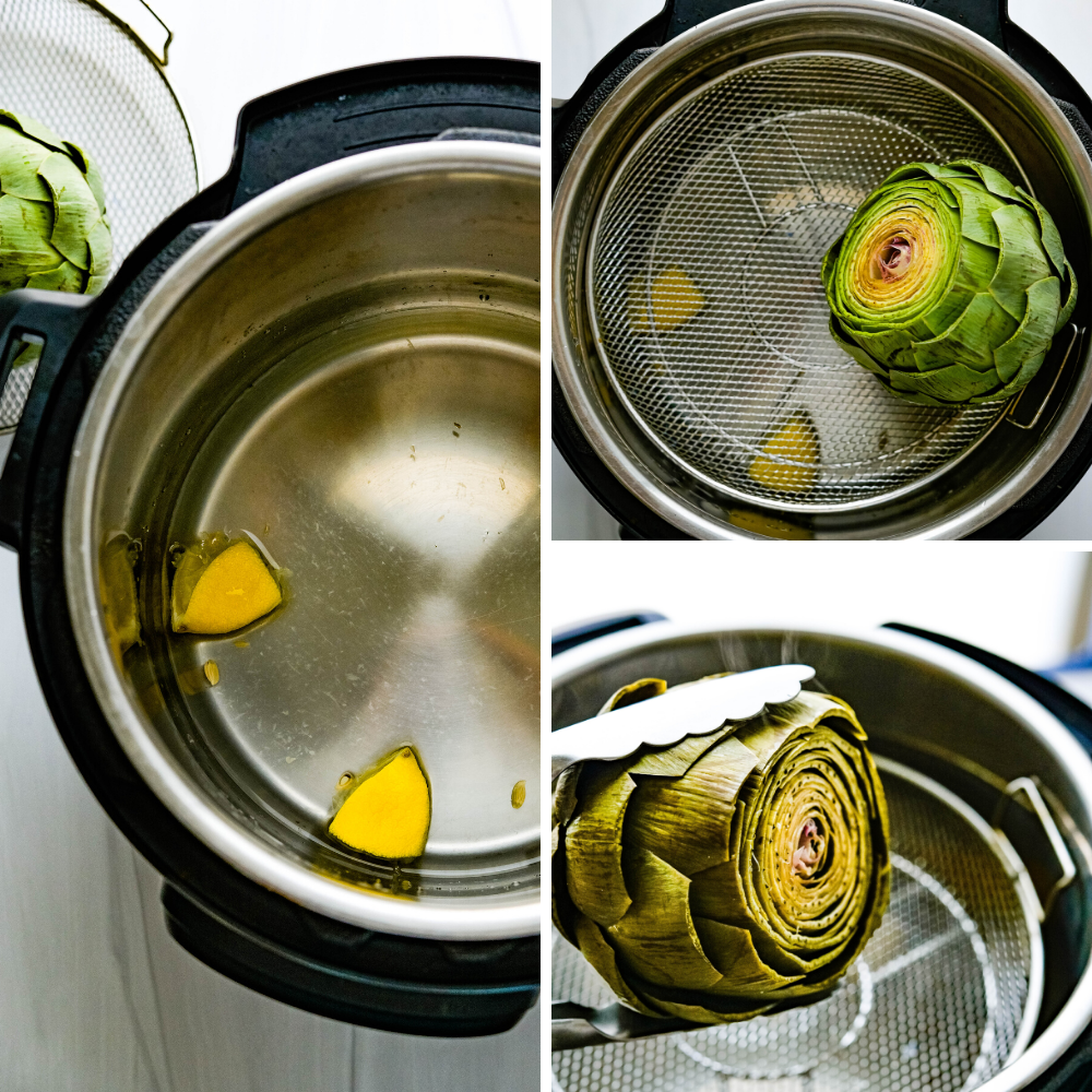 Cooking artichokes in the Instant pot. Before and after photos.