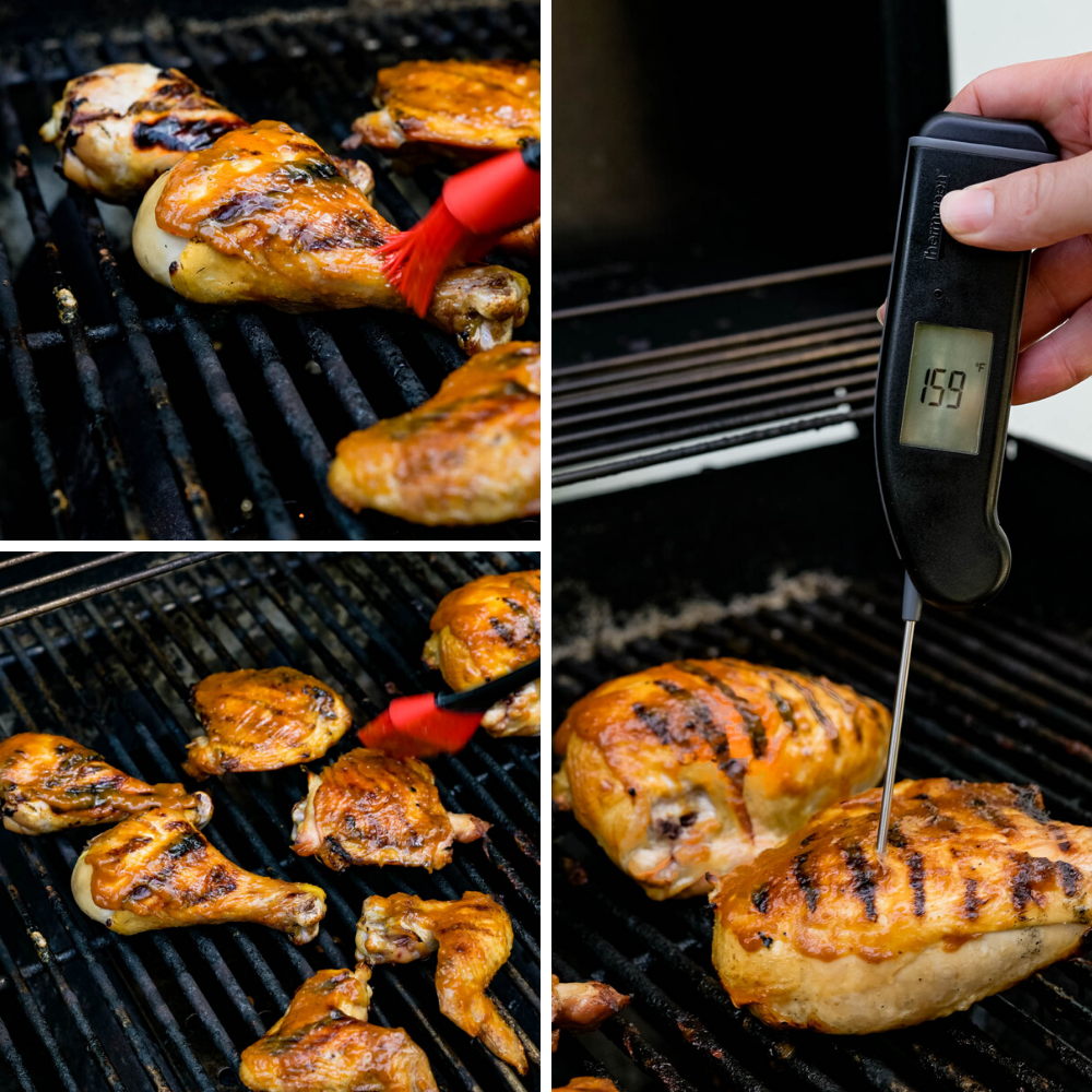Brushing smoked BBQ chicken with sauce and taking temperature with instant read thermometer.