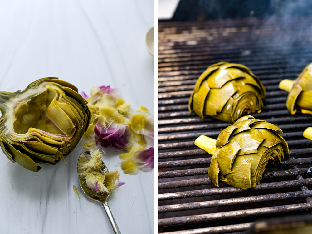 Removing the choke from the artichoke and grilling and smoking the artichokes.