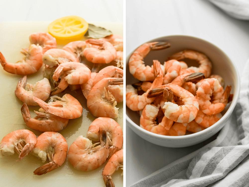 Poached shrimp for garnish, optional.