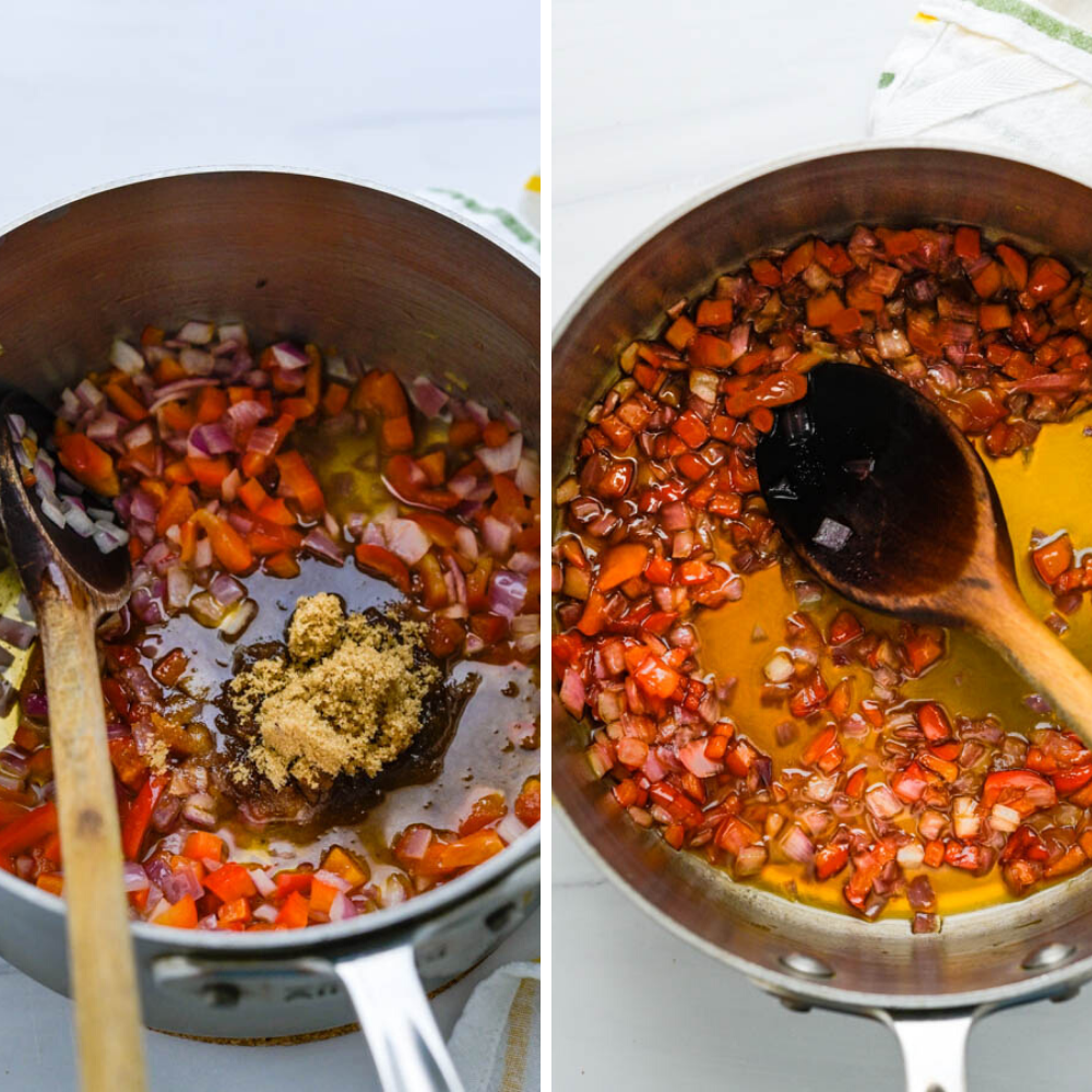 Before & after photos: adding cider vinegar and brown sugar to the pepper and onion and after the cider has simmered and become clear and syrupy.