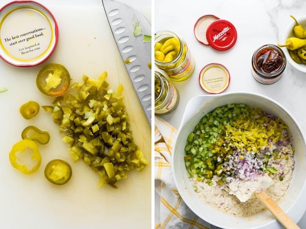 adding mezzetta ingredients to the fish dip.