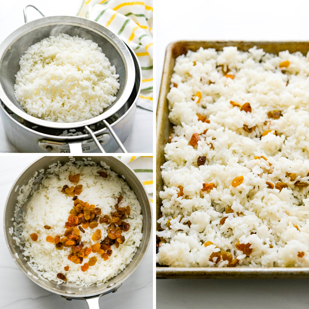cooling off steamed rice with golden raisins  on a sheet pan.
