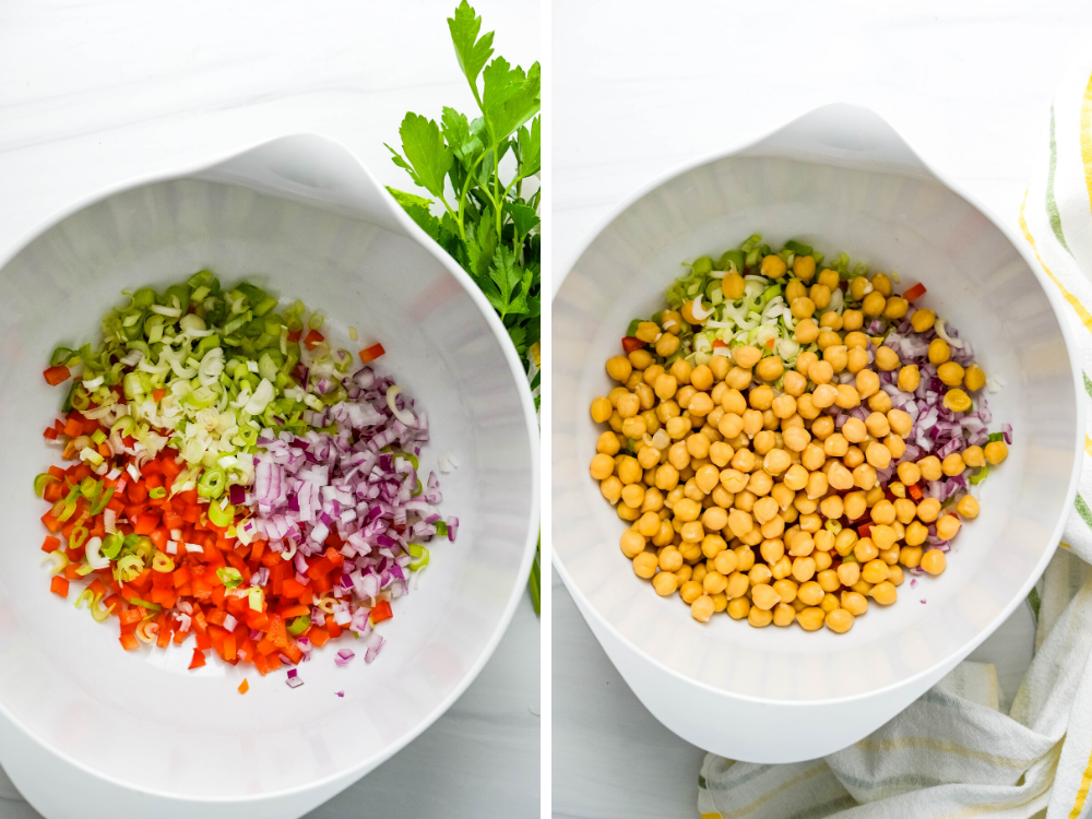 Combining vegetables and chick peas in a bowl for the curried rice salad.