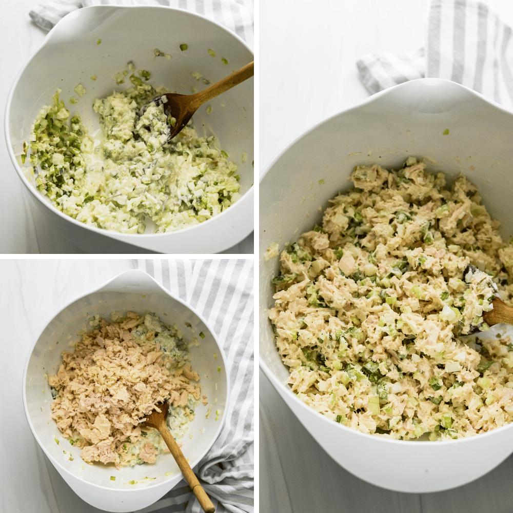 mixing the mayo and veggies with tuna for cold tuna pasta salad.