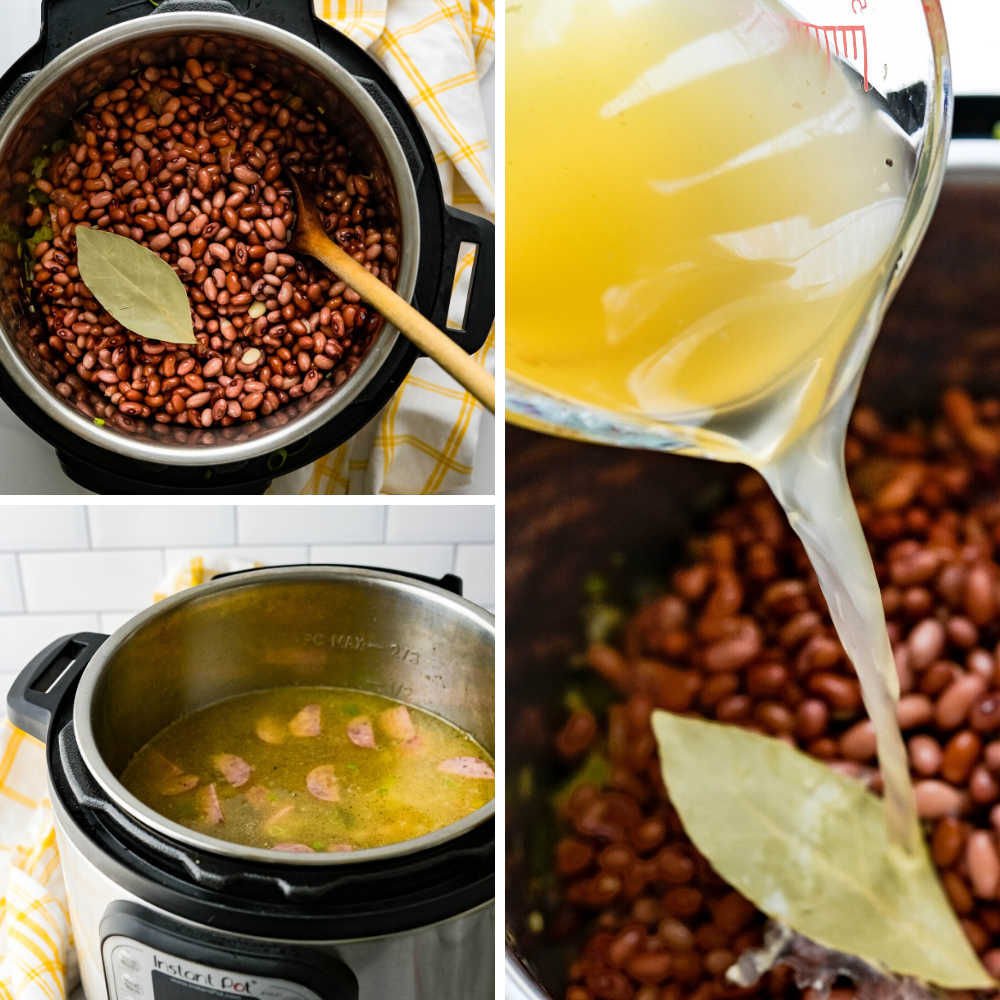 adding soaked dried red beans broth and water to the veggies and sausage to cook in the Instant Pot pressure cooker.