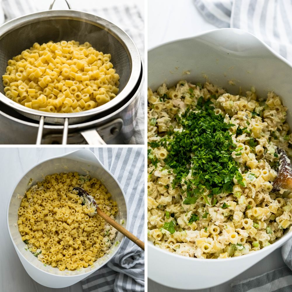 mixing cooked pasta and fresh herbs into the tuna and pasta salad.