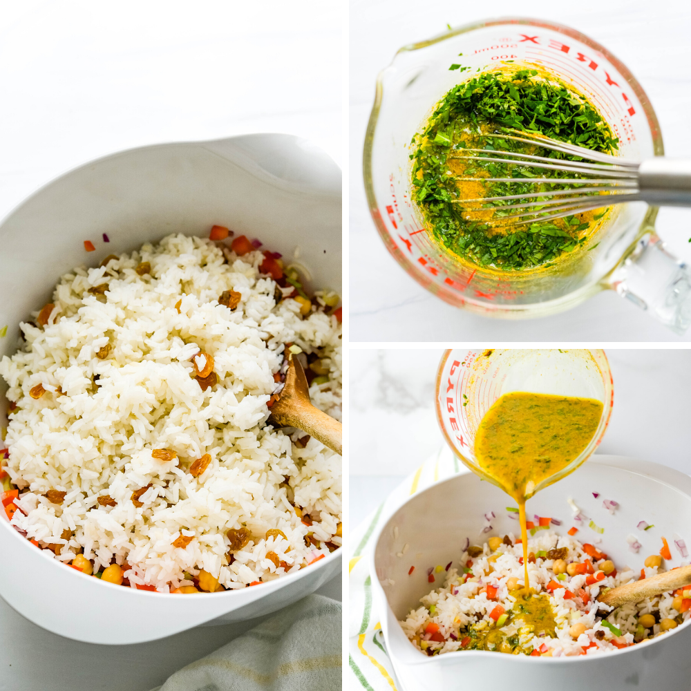 photo of Mixing the rice with the vegetables and pouring curry dressing over the summer rice salad.