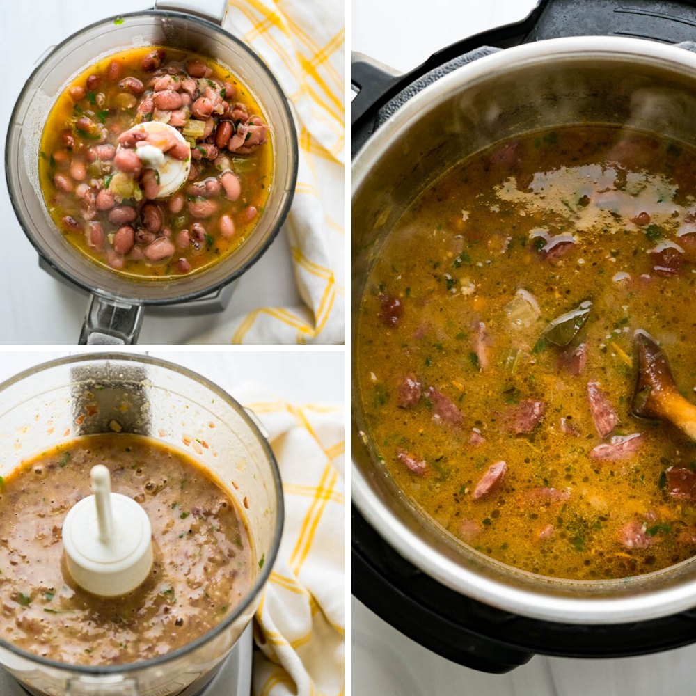 pureeing the red beans and adding them back to the pot of Cajun beans and andouille sausage.