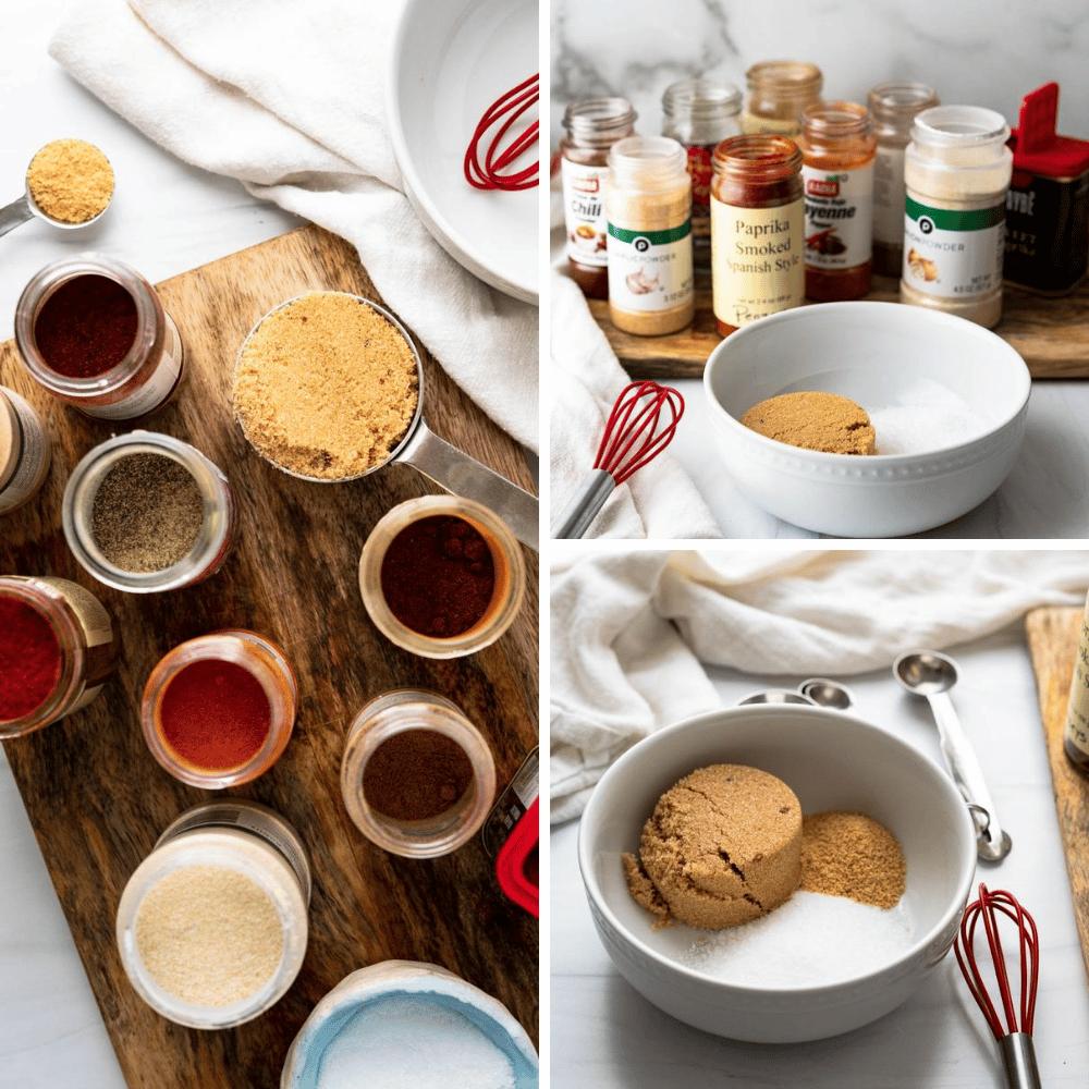 Ingredients for Chipotle seasoning bbq powder being measured to mix.