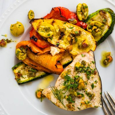 Ridiculously Simple Grilled Swordfish Steaks with Castelvetrano Olive Relish