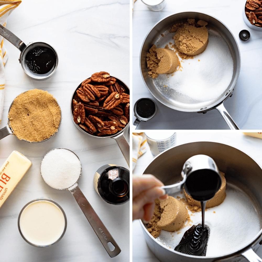 ingredients for making homemade pralines.
