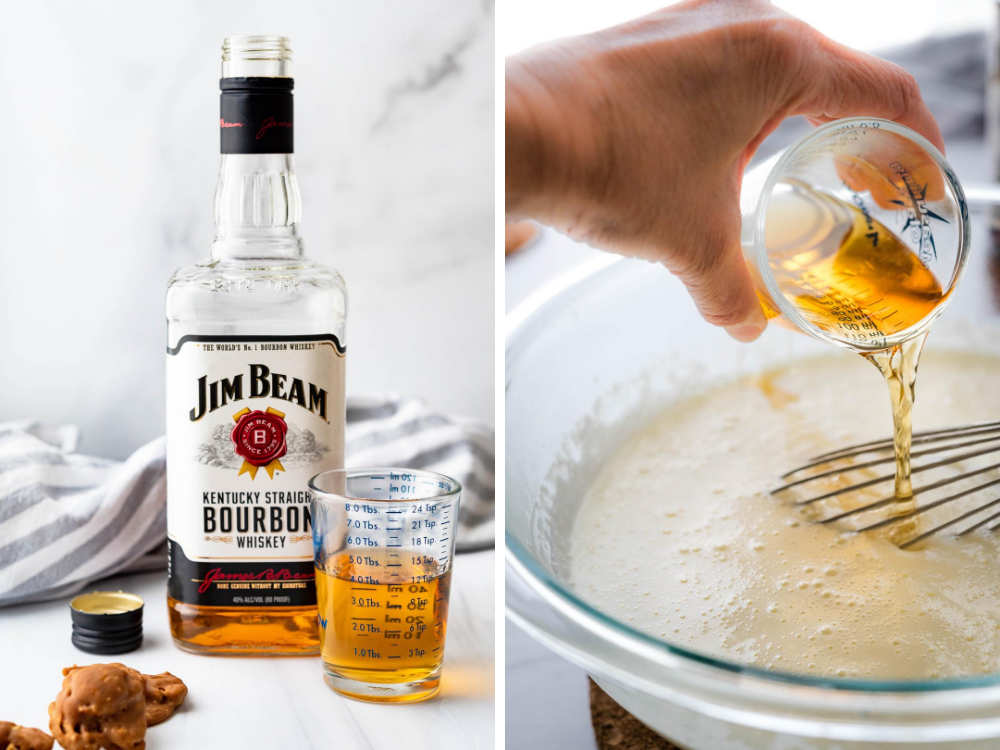 flavoring the ice cream with bourbon.