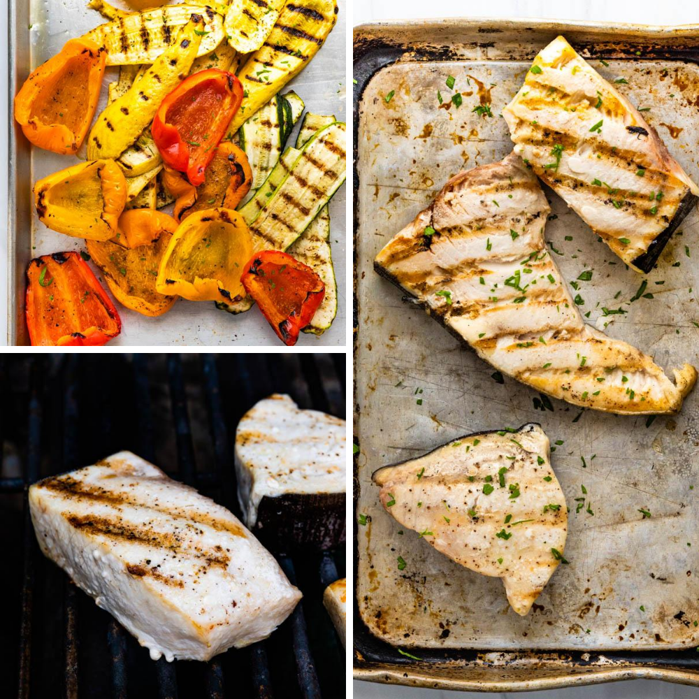 veggies and swordfish steaks after grilling.