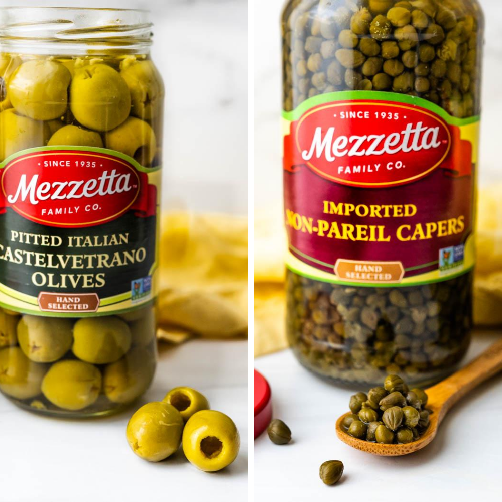 Closeups of the capers and castelvetrano olives.