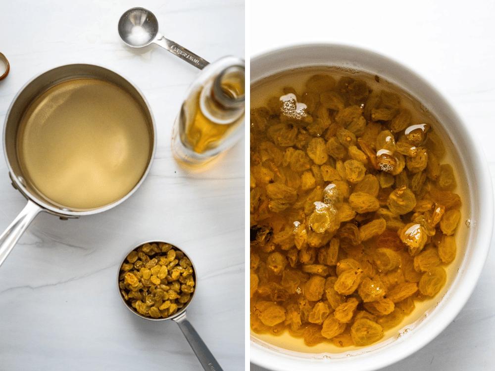 Macerating raisins in rum simple syrup.