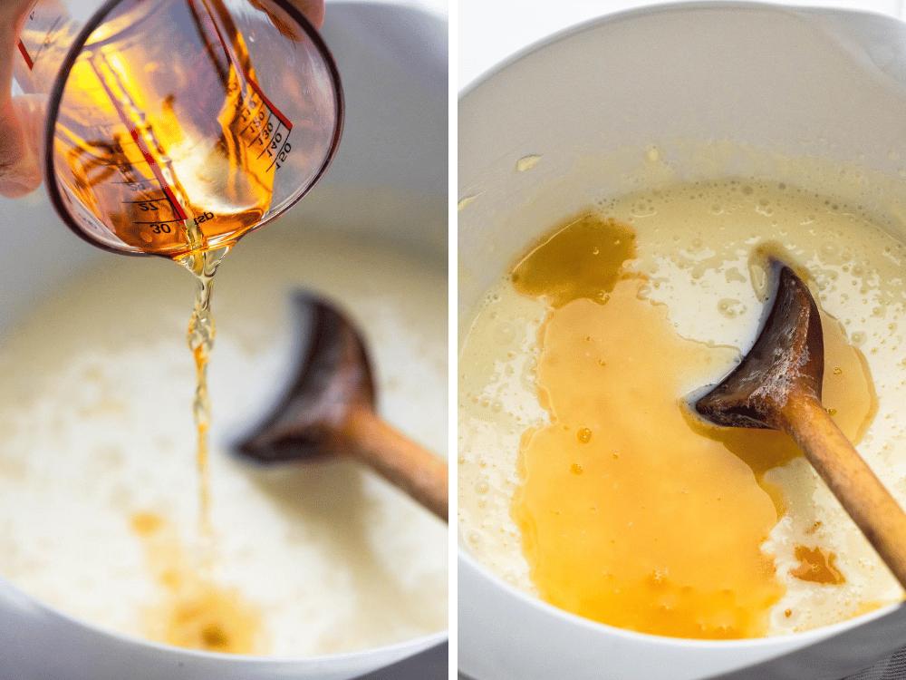 adding rum to the homemade ice cream custard.