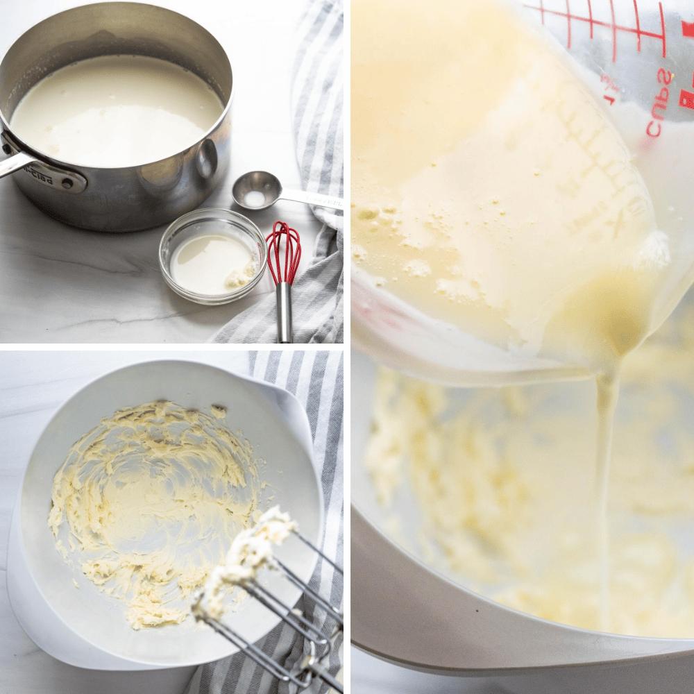 blending the eggless ice cream custard.