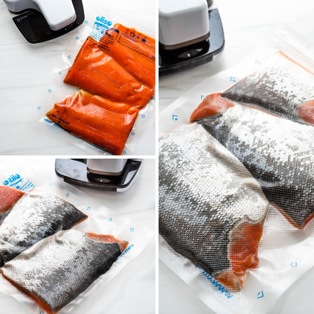 Sealing sockeye salmon fillets in a gallon sized food sealer bag. the food saver machine vacuum seals the air out.
