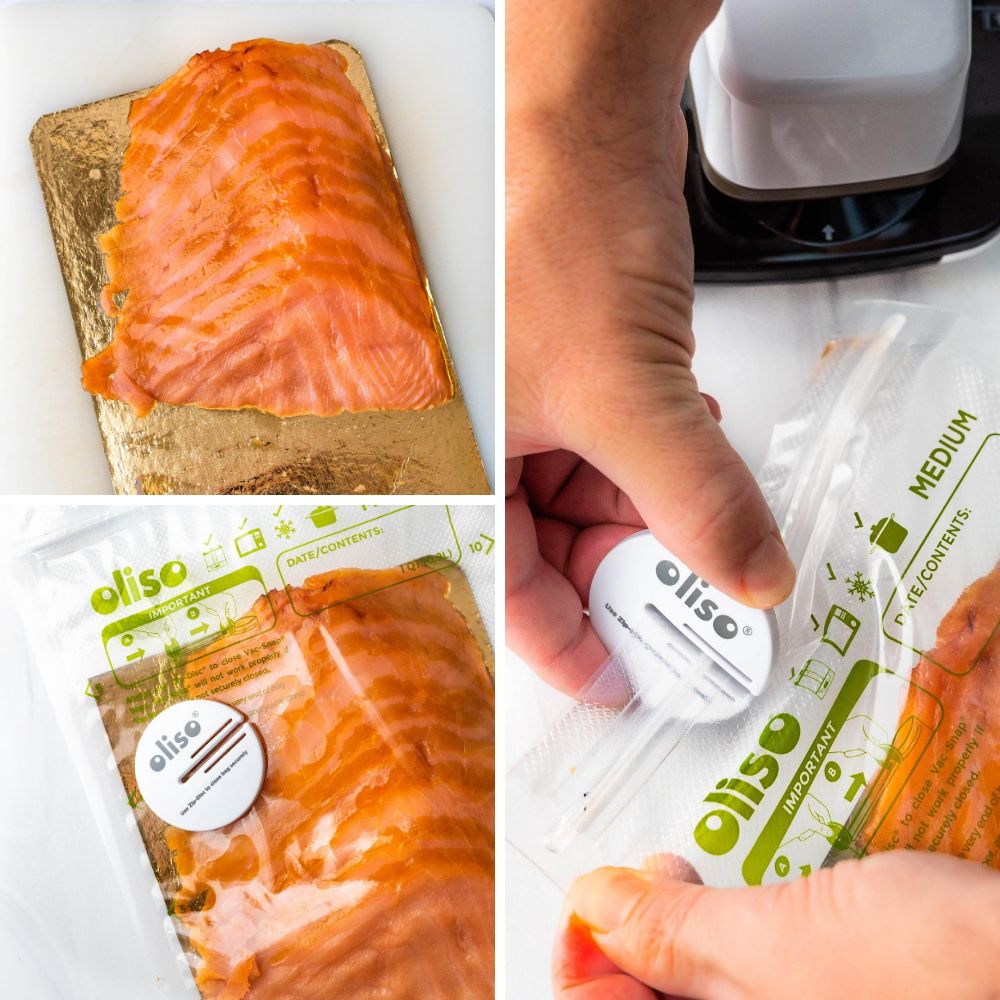 sealing smoked salmon in the food saver bags with the Zip-disc.