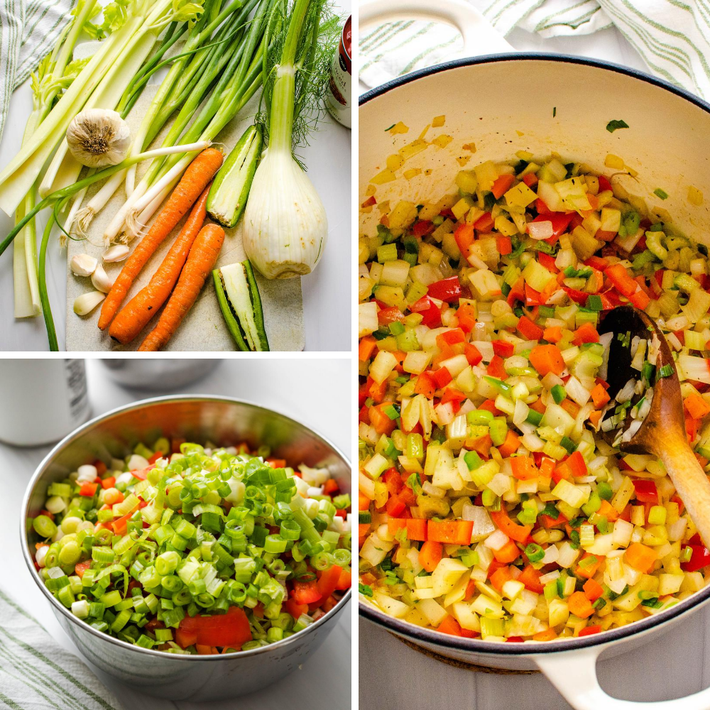 chopping and sautéing the veggies for conch recipe.