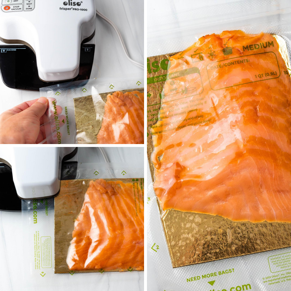 Vacuum sealing the smoked salmon in a food sealer bag. This will keep the food fresh for weeks.