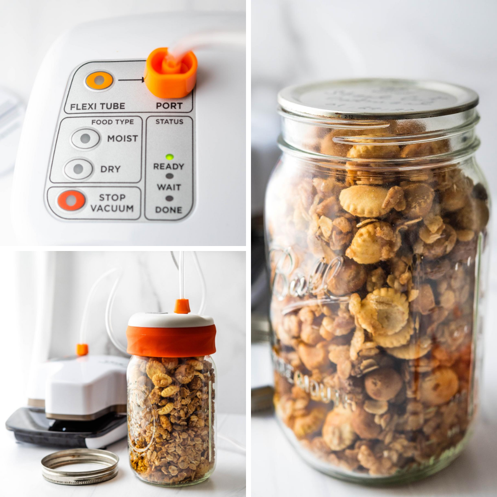 Using the mason jar vacuum sealer to keep snack mix fresh in a standard quart sized jar.