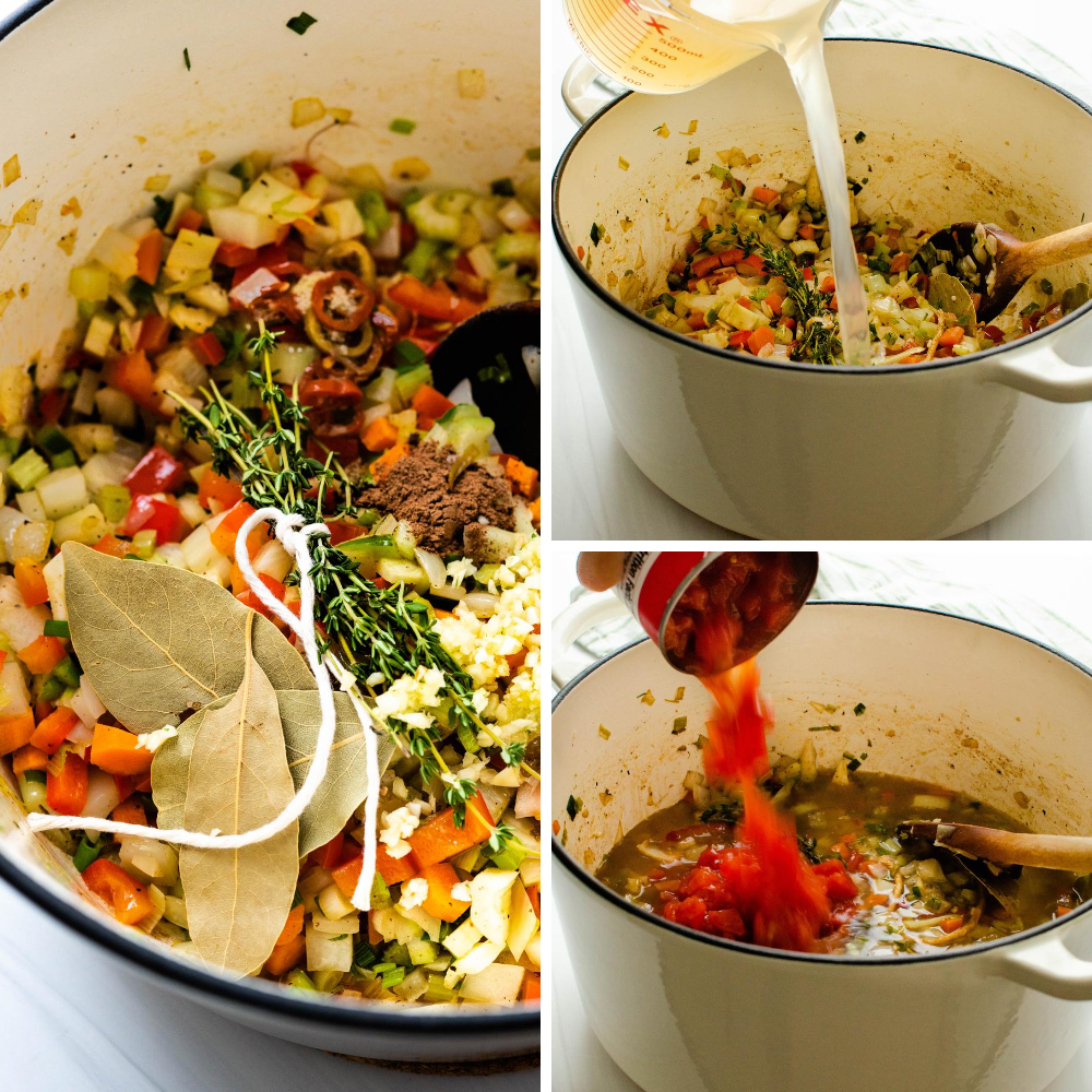 adding herbs, spices, clam juice and tomatoes to the pot.