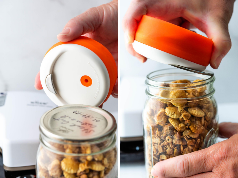 Use the tab on the mason jar vacuum sealer lid to release the tight seal.