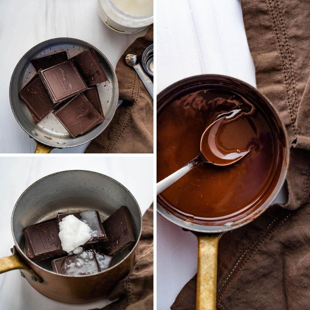 making dark chocolate magic shell to swirl into the homemade coffee ice cream.