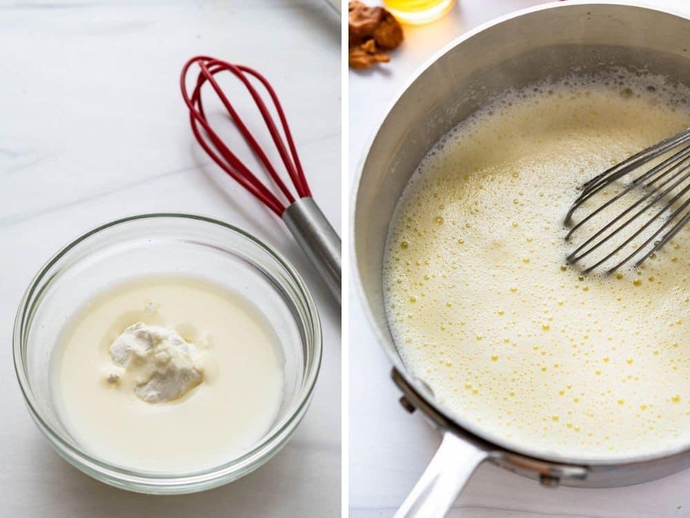 making cornstarch slurry to thicken the bourbon ice cream base.