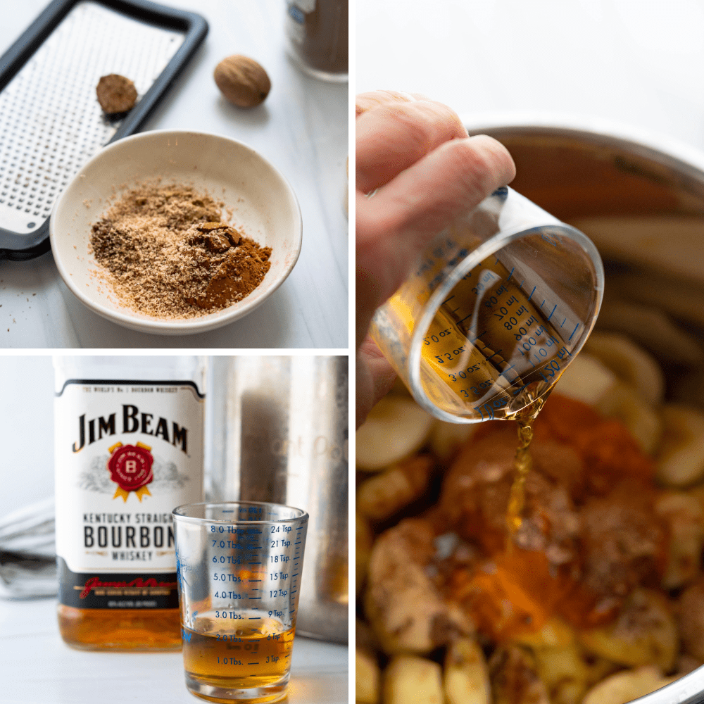 adding spices, bourbon and maple syrup to the ingredients.