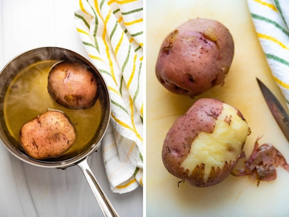 par-boiling and peeling the potatoes.
