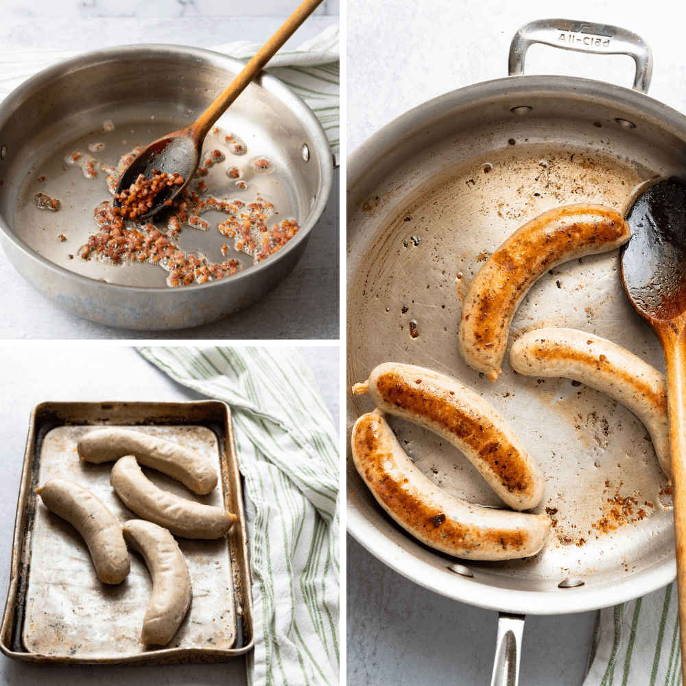 browning pancetta and bratwurst for an easy skillet dinner.