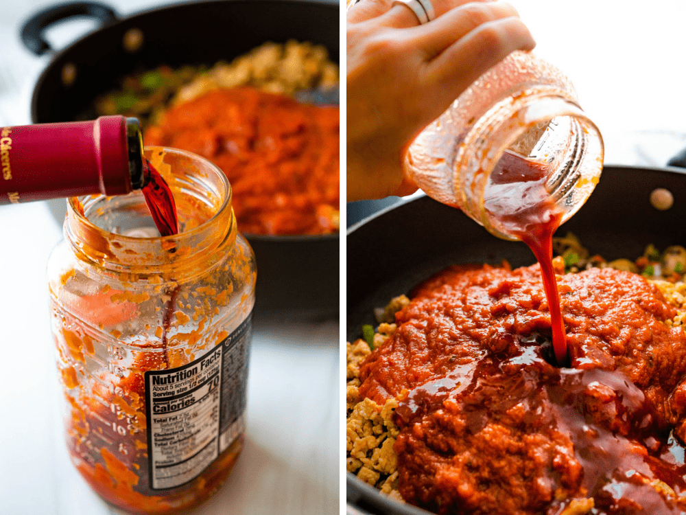 adding wine to jarred pasta sauce to rinse out any extra sauce in the jar.